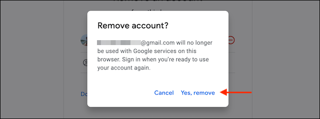 """From the popup, choose the """"Yes, Remove"""" option to confirm."""