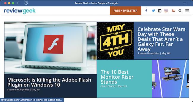 Веб-сайт, работающий как приложение в Microsoft Edge.