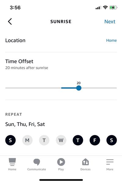 Schedule smart plug at sunrise