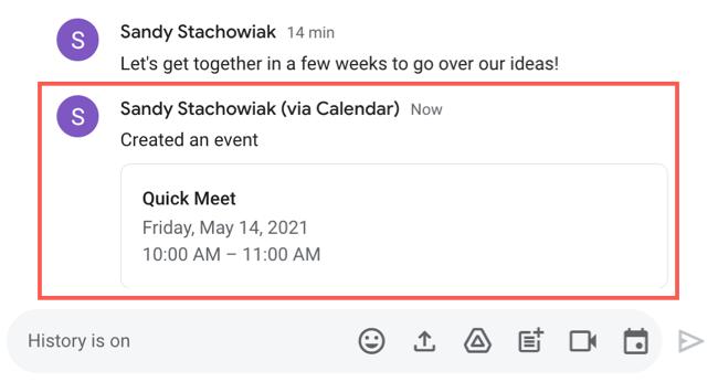 Événement planifié dans Google Chat