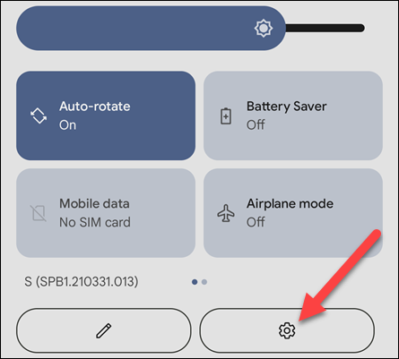 Swipe down from the home page of your Android device to access the quick settings and tap the gear icon