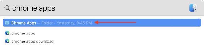 """Искать """"Приложения Chrome"""" папку с помощью поиска Spotlight."""