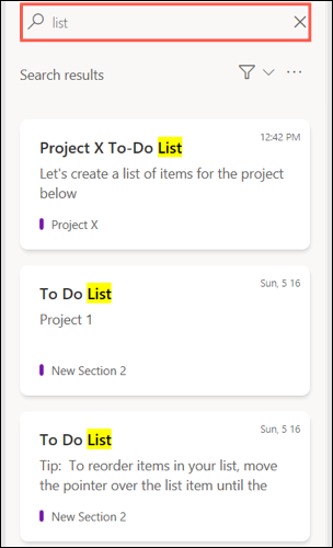 Search your OneNote feed
