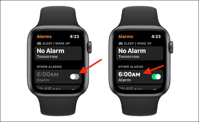Toggle to enable or disable the Alarm. Tap an alarm to see more options.