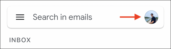 Tap the Google profile icon in the Gmail search bar.