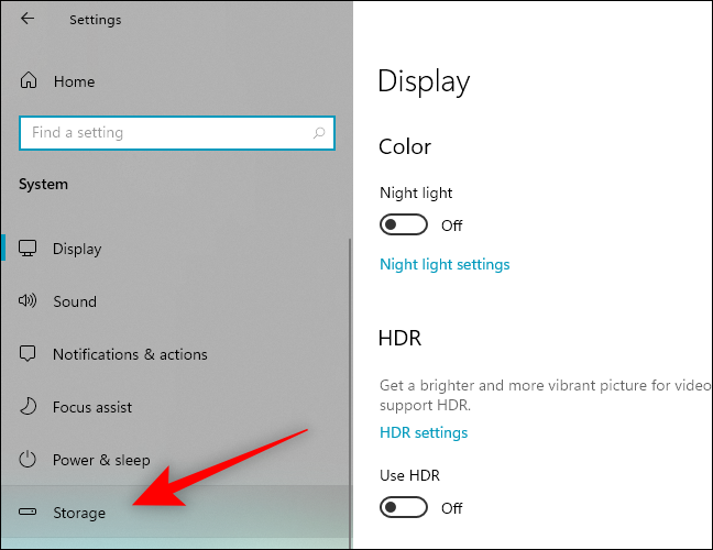 Select Storage from the left pane in Settings
