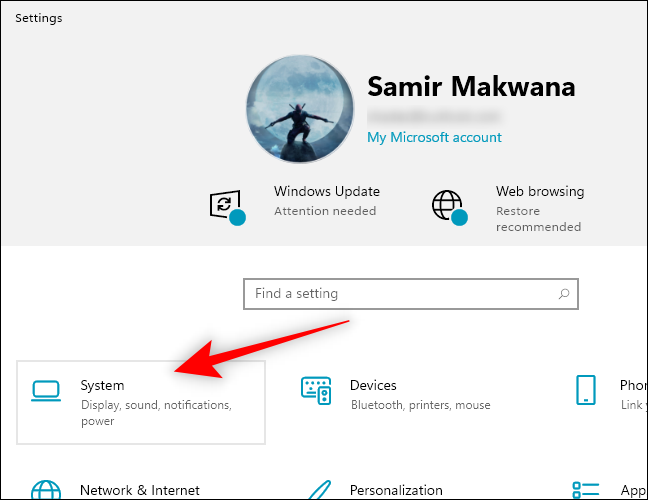 Select System in the Windows Settings app