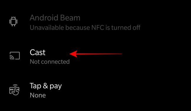 Select the cast option from Bluetooth devices connection
