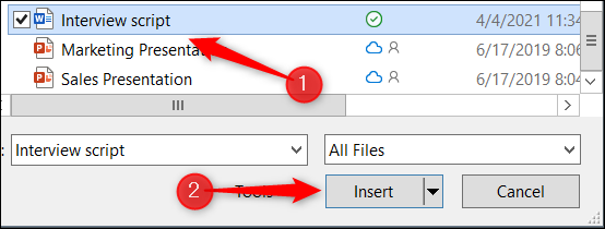 Selecting and inserting a Word document