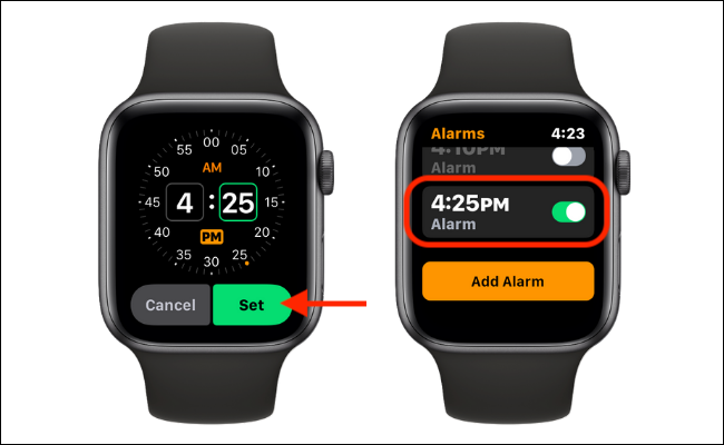 """Set the time using the visual interface and tap the """"Set"""" button."""