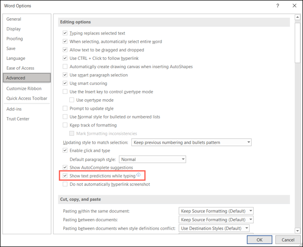 Click File, Options, Advanced to turn on text predictions