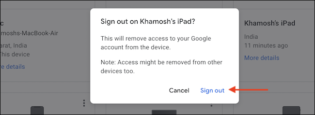 """To confirm, click the """"Sign Out"""" button from the popup."""