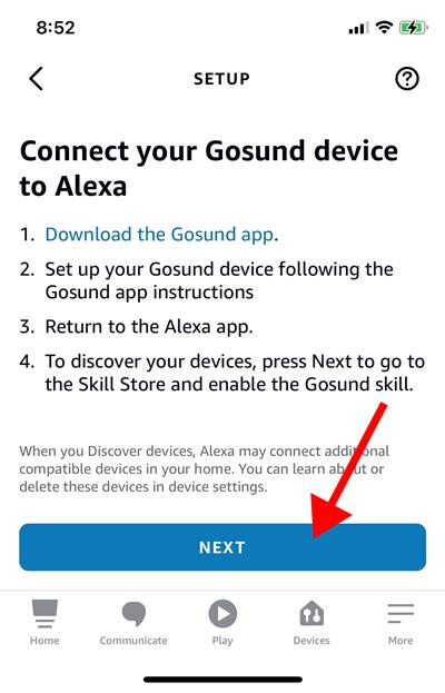 Страница настройки умной розетки в приложении Alexa