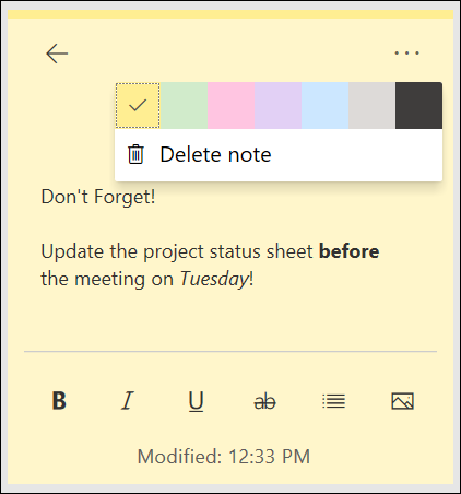 Sticky Note in OneNote feed