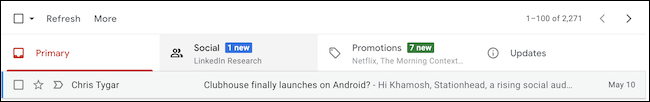 Gmail Inbox on the web showing tab categories like Primary, Social, Promotions, and Updates.