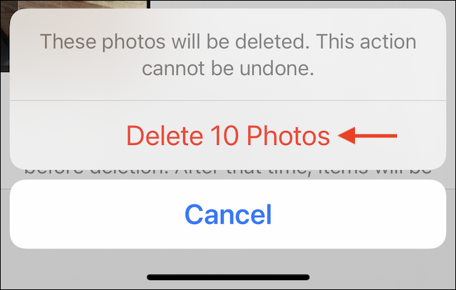 """Tap """"Delete Photos""""or """"Delete Videos"""" to permanently delete photos from iPhone or iPad."""