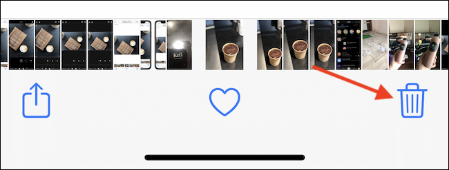 Tap the Delete (trashcan) button in the bottom-right corner to delete the photo or video.