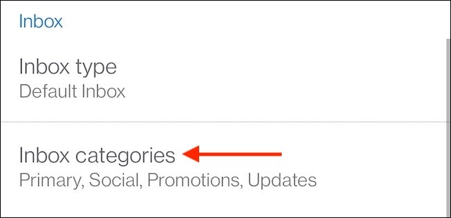 """From """"Inbox"""" section, choose """"Inbox Categories."""""""