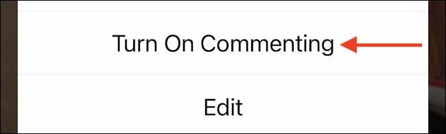 """Select """"Turn On Commenting"""" to enable comments again."""