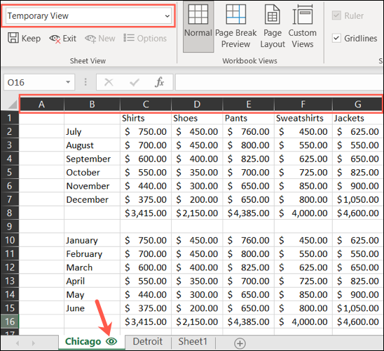 Temporary Sheet View in Excel