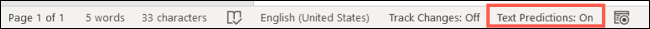 Text Predictions On in Word status bar