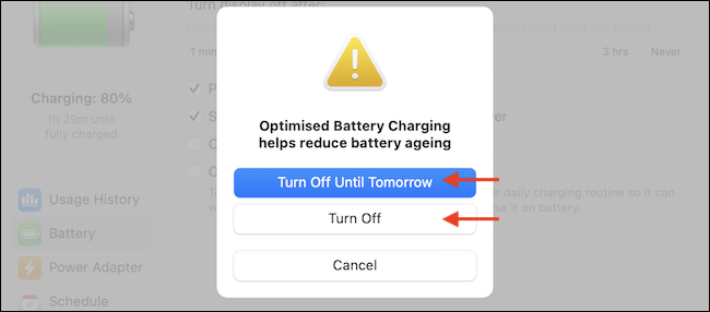 """Use """"Turn Off Until Tomorrow"""" to disable the feature temporarily. Use """"Turn Off"""" to completely disable the feature."""