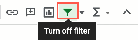 Click Turn Off Filter