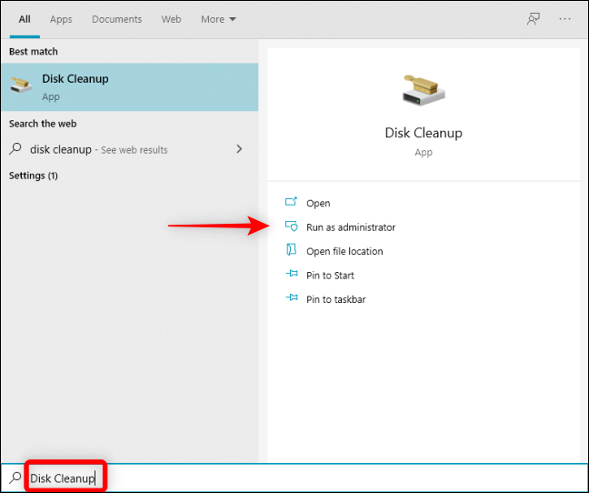 Type Disk Cleanup in Windows Search to open it