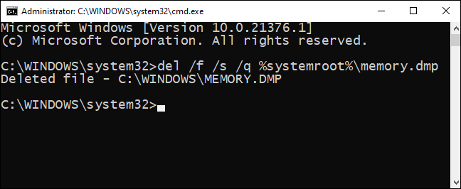 Type the delete memory dump file command in the command prompt