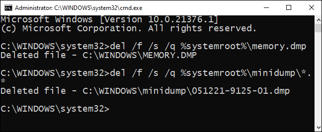 In command prompt, type minidump files for delete command