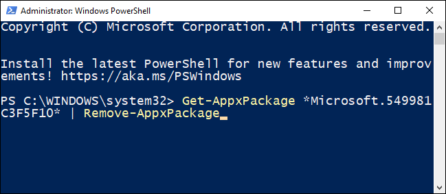 Type the command to remove Cortana for the current user in the PowerShell.