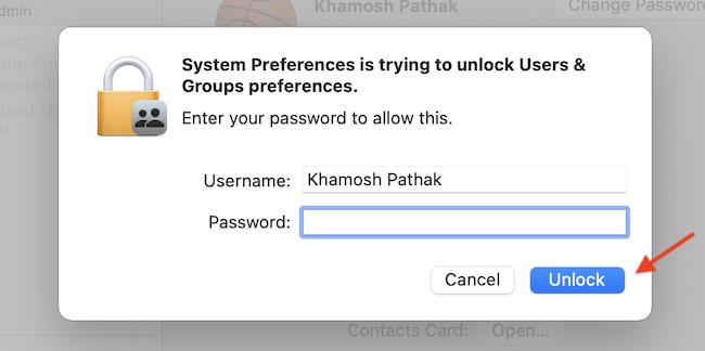 """Введите свой пароль и нажмите """"Разблокировать"""" кнопка."""