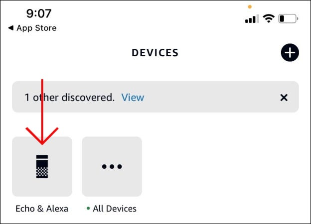 "Tap ""Echo & Alexa."""