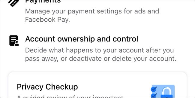 Facebook account ownership and management settings