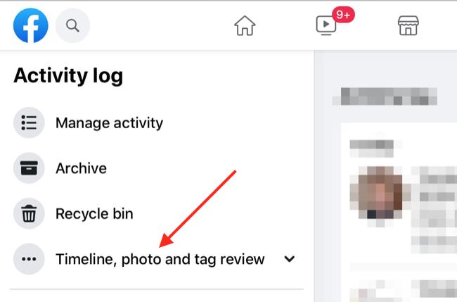 Facebook Activity Log via Web Browser