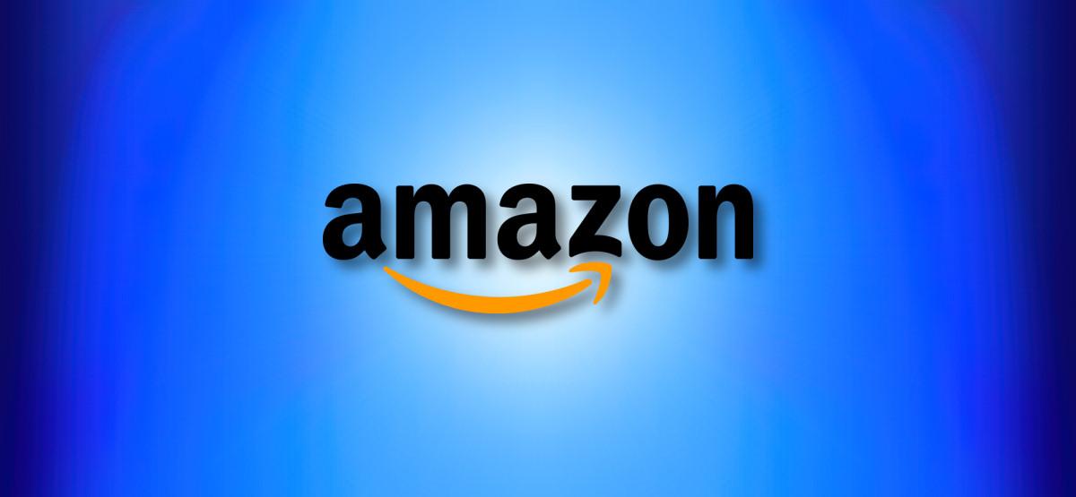 Логотип Amazon.com на синем фоне героя