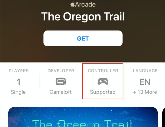 Hỗ trợ bộ điều khiển được đề cập trên trang App Store cho các trò chơi Apple Arcade