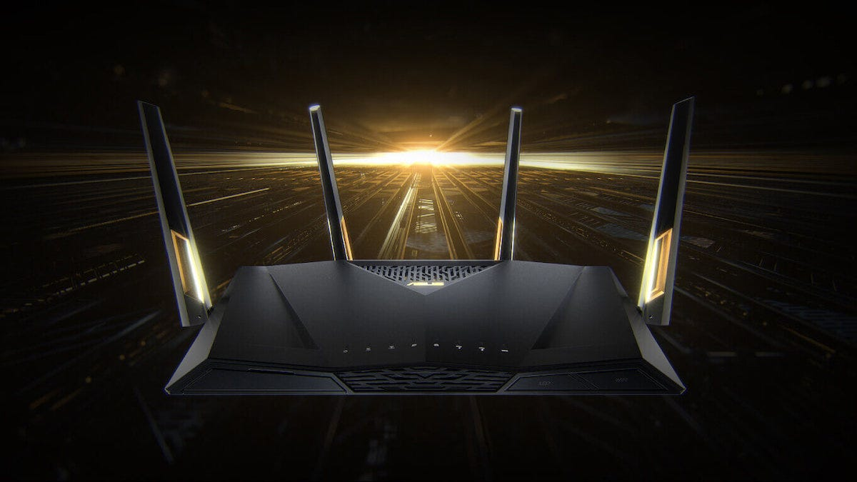 An Asus RT-AX88U Wi-Fi router on a stylized golden background.