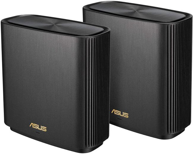 Two Asus ZenWiFi AX (XT8) mesh Wi-Fi units.