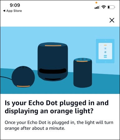 The Alexa app asking if an Echo Dot is displaying an orange light.