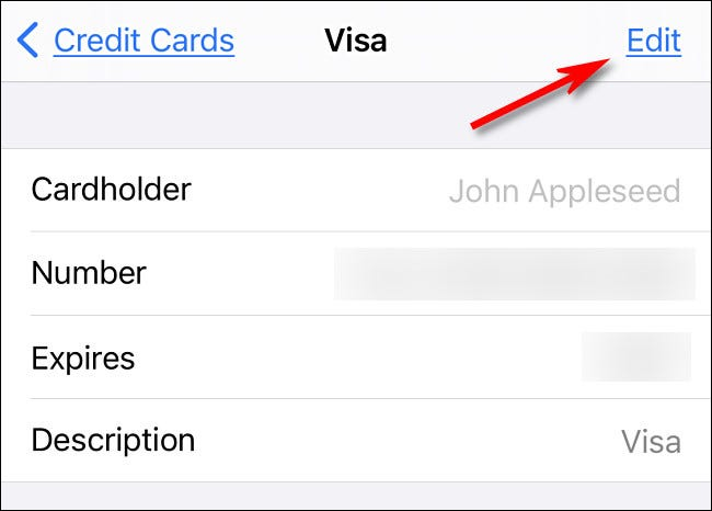 """On the credit card details screen, tap """"Edit"""" to change details."""