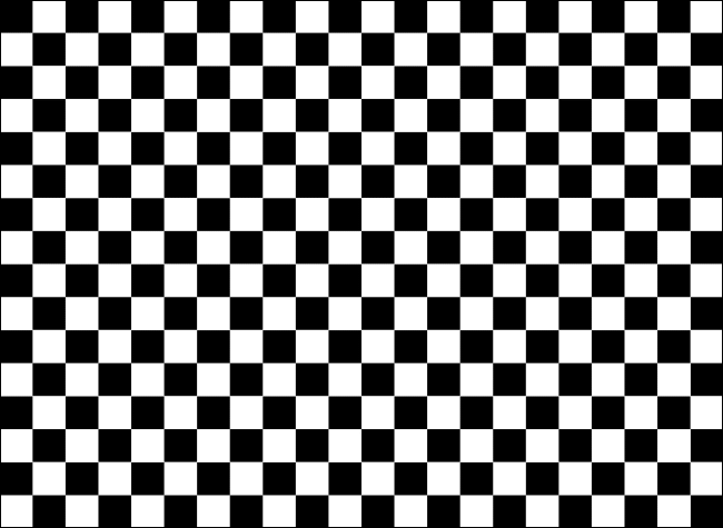 A checkerboard style background of black and white squares.
