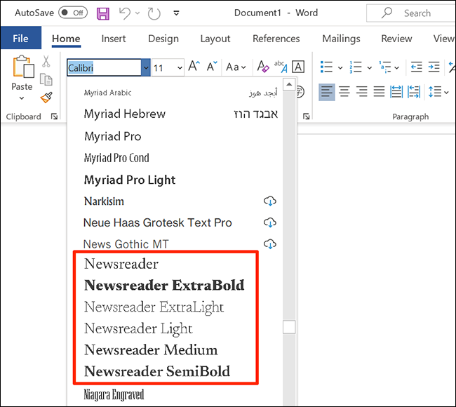 Выберите шрифт Google Font в меню шрифтов Word.