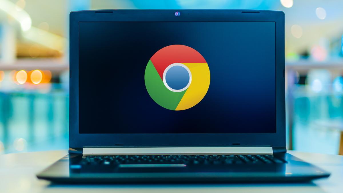 A Chrome logo on a laptop computer.