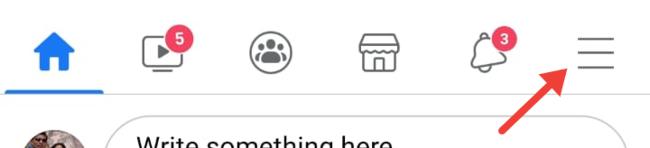 Коснитесь трехточечного меню в приложении Facebook