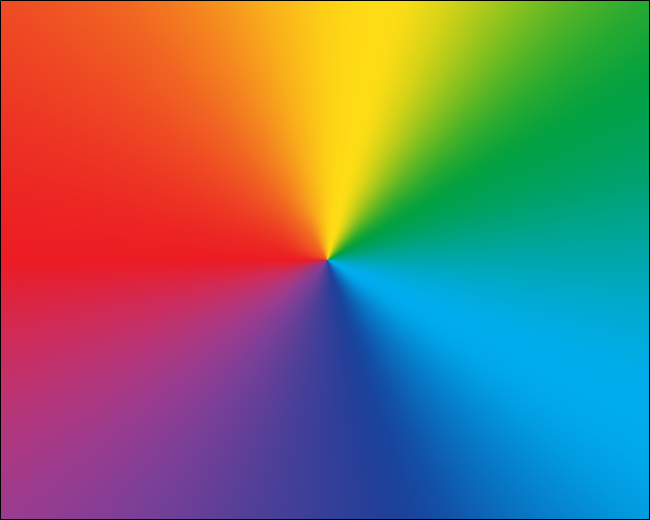 A radial gradient showing rainbow colors.
