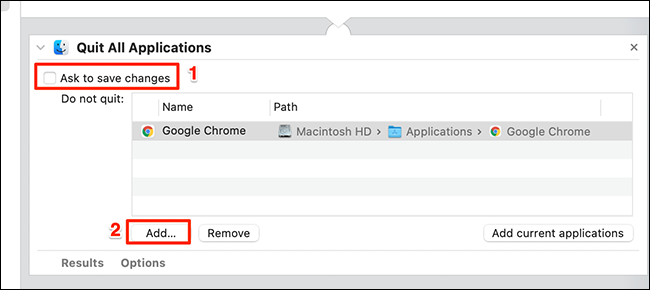 """Configure """"Quit All Applications"""" in Automator."""