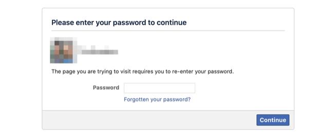 Enter password to deactivate Facebook account