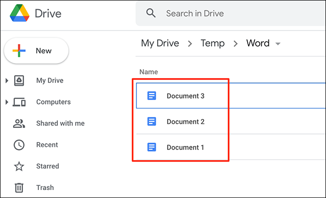 An example of files converted to the Google Docs format on the Google Drive site.