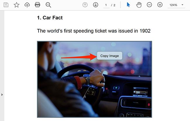 Nhấp chuột phải vào hình ảnh trong tệp PDF và chọn